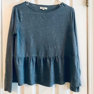 Madewell periwinkle blue linen top
